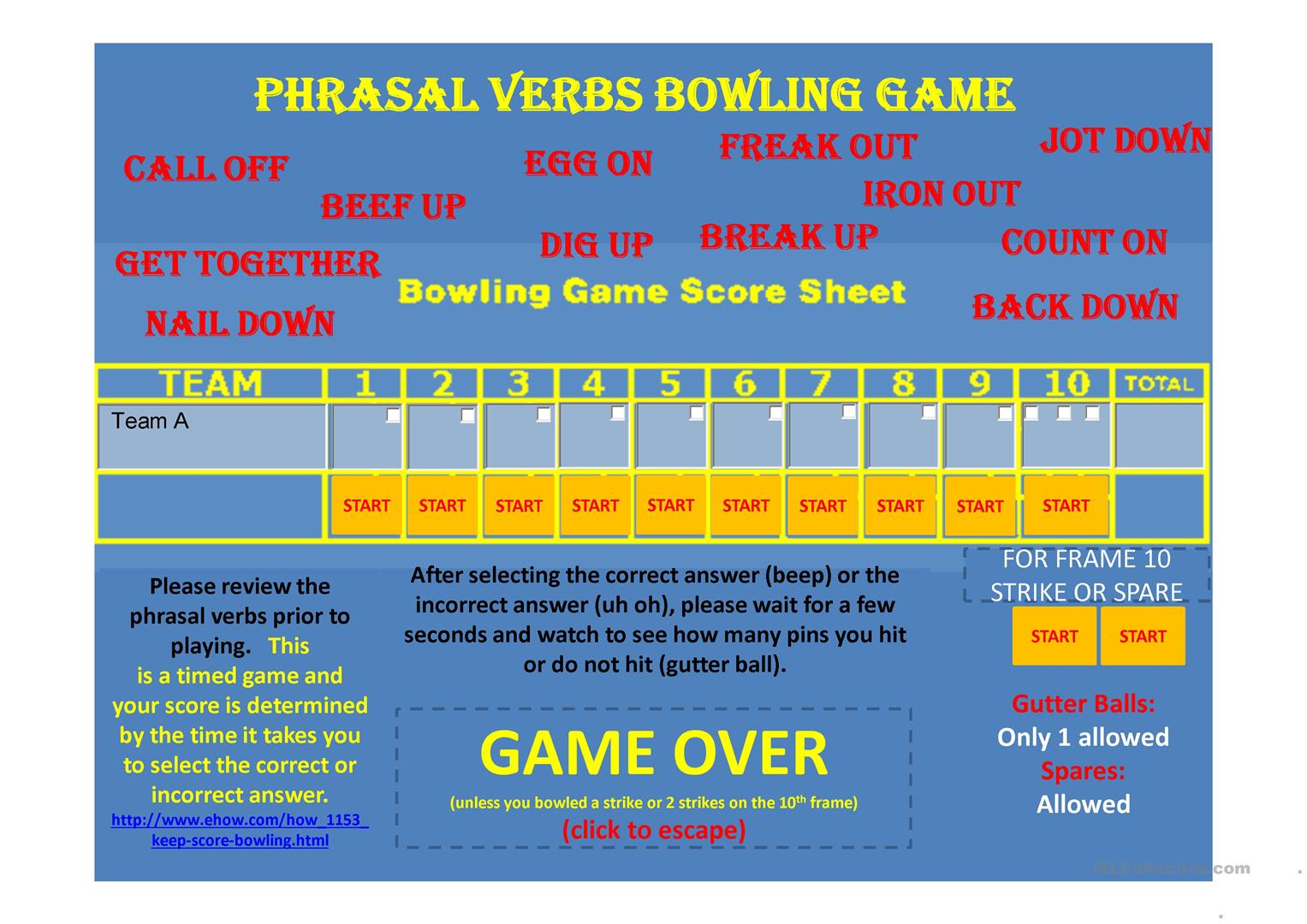 Phrasal Verbs Ppt Solo Bowling Game Worksheet