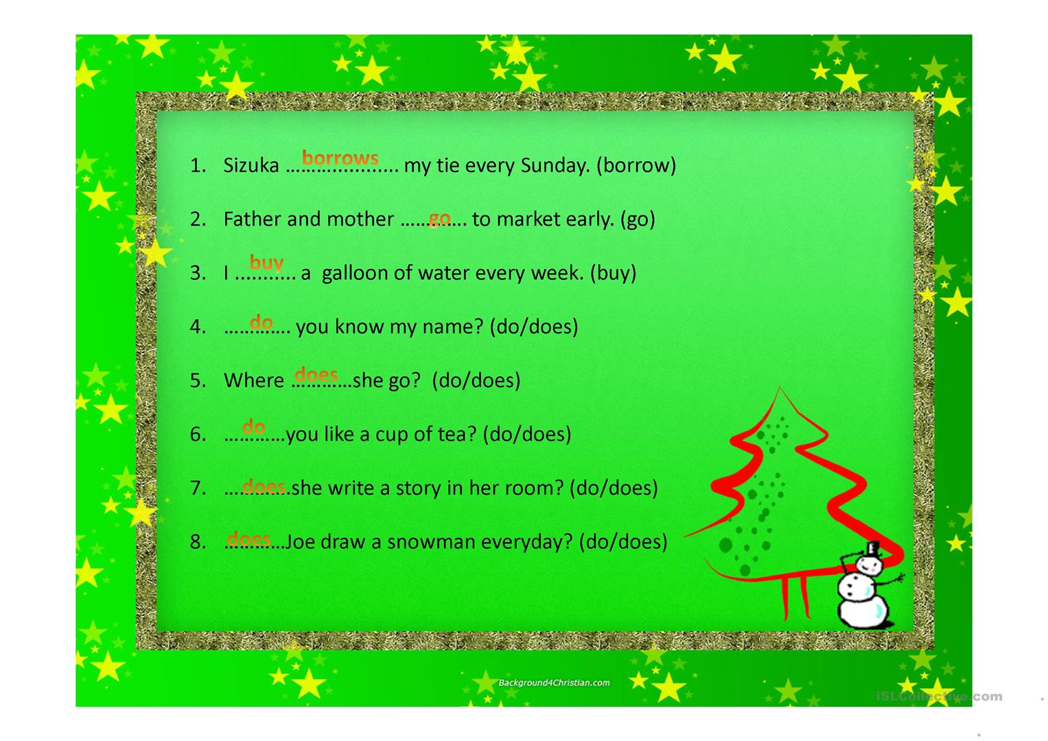 Present Tense Verb Worksheet