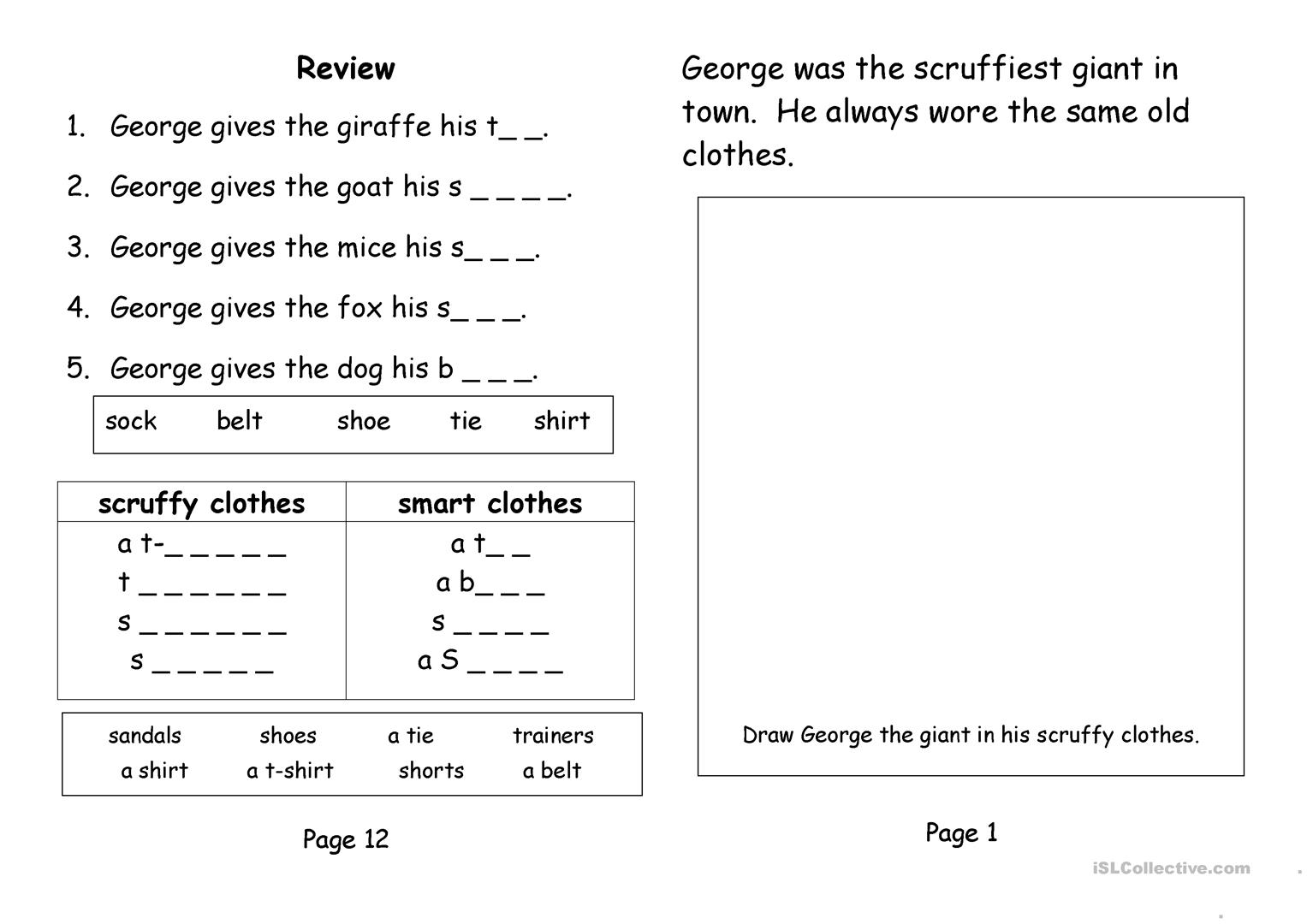 The Smartest Giant In Town Worksheet
