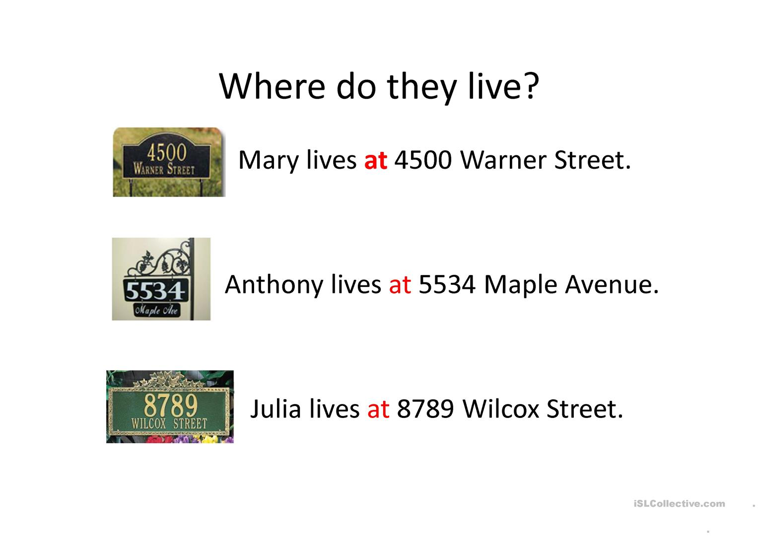 Where Do You Live Worksheet