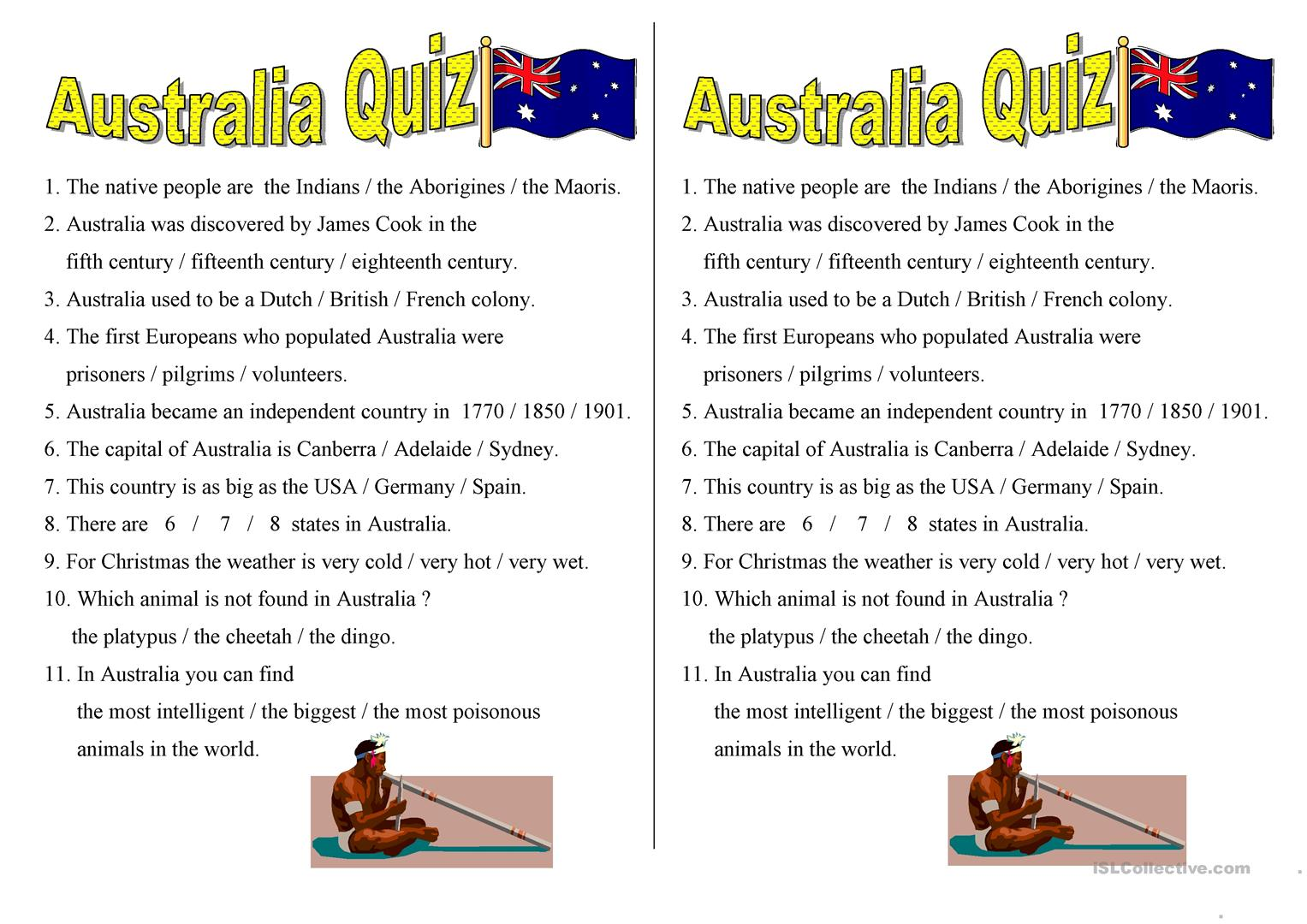 Australia Quiz Worksheet