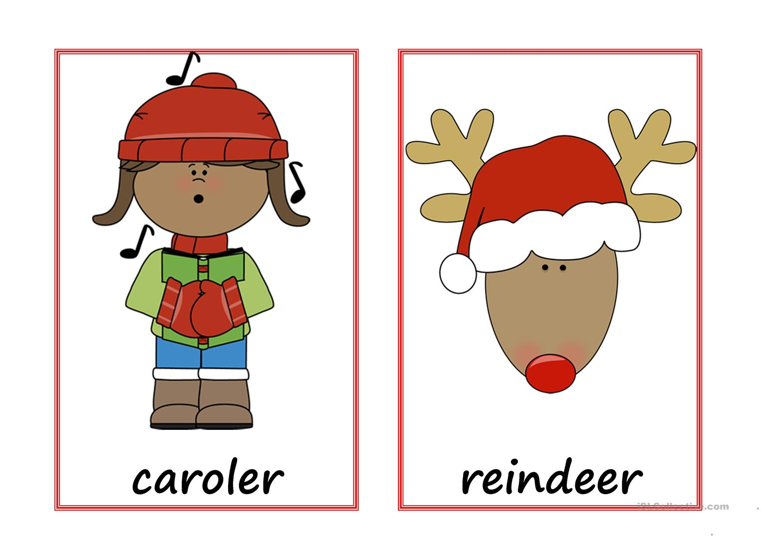 Christmas Flashcards With Text Worksheet