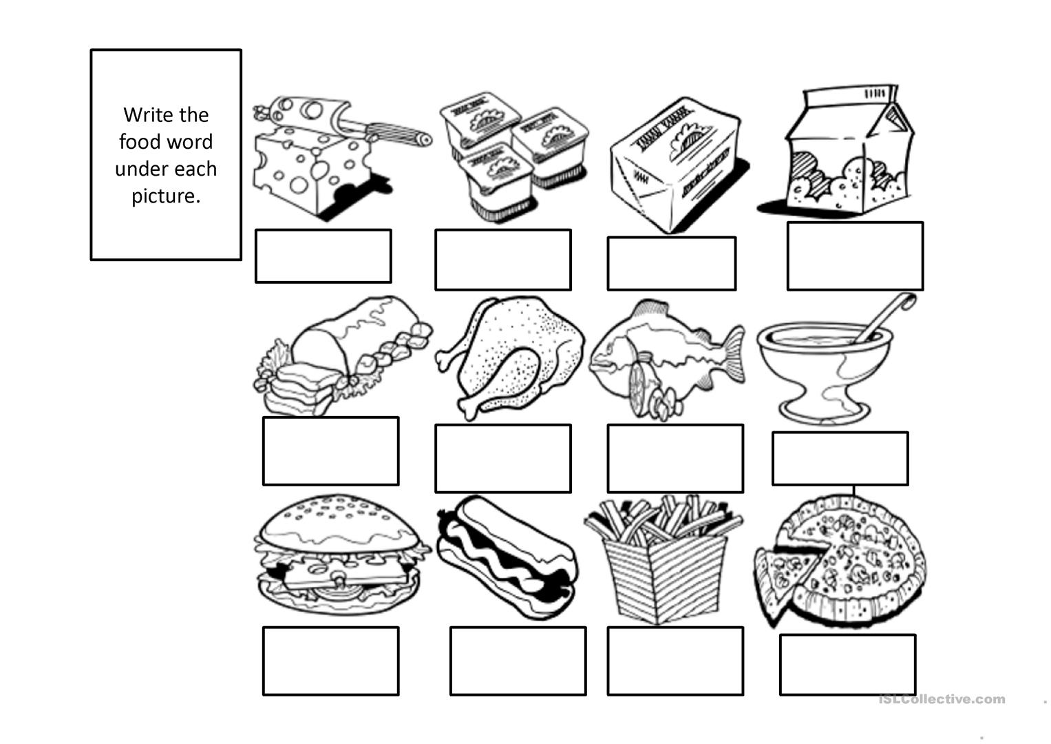 Food Items To Label Worksheet