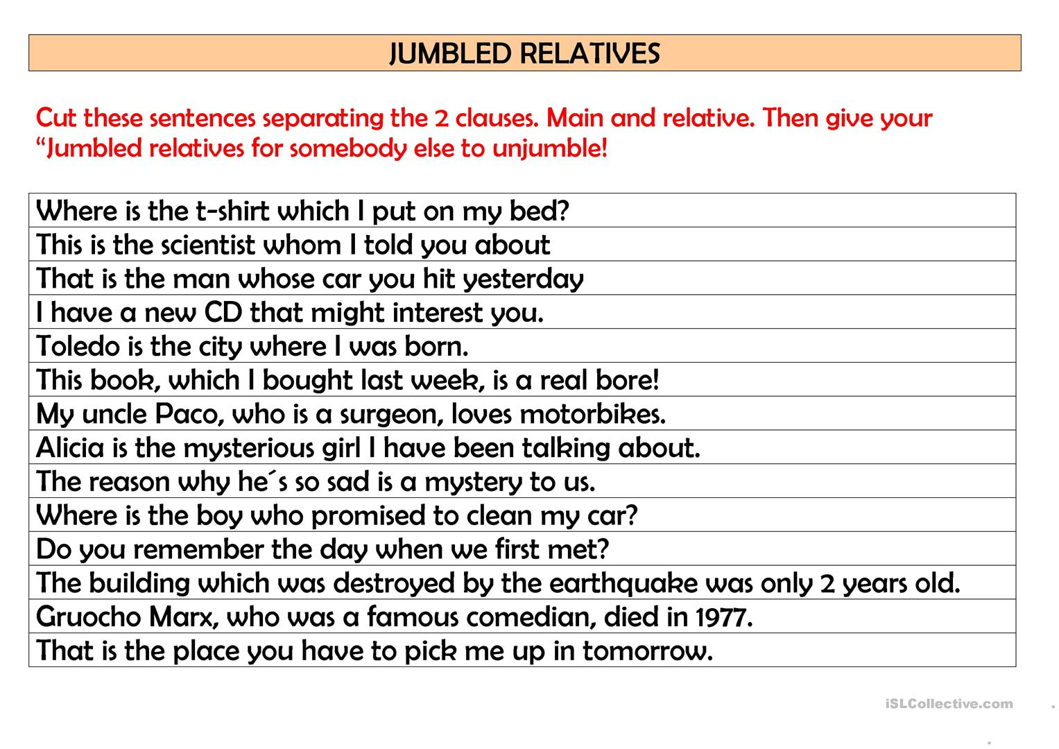 Jumbled Relatives Worksheet