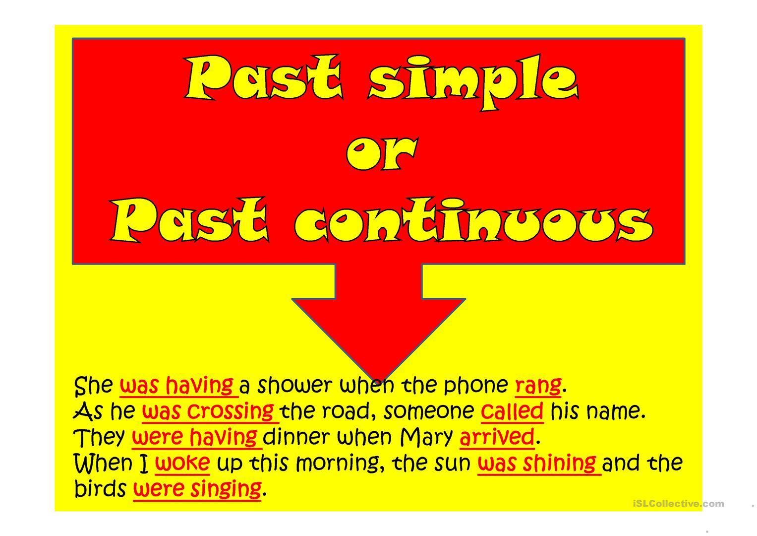 Past Simple Or Past Continuous Worksheet