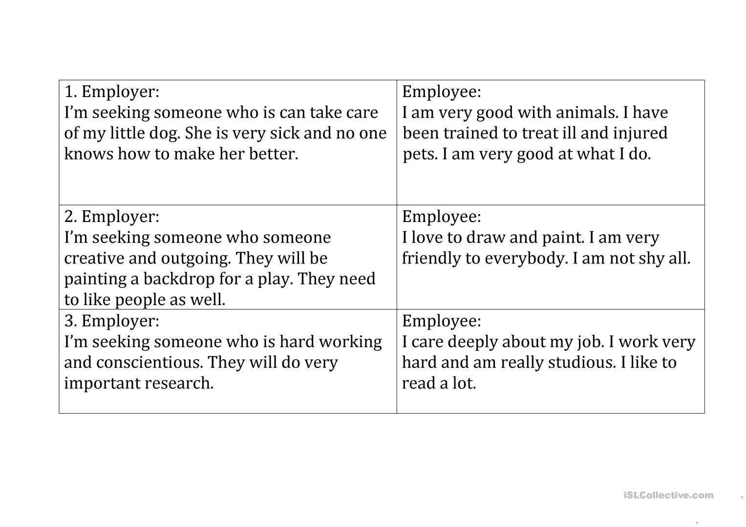 Personality And Job Match Worksheet