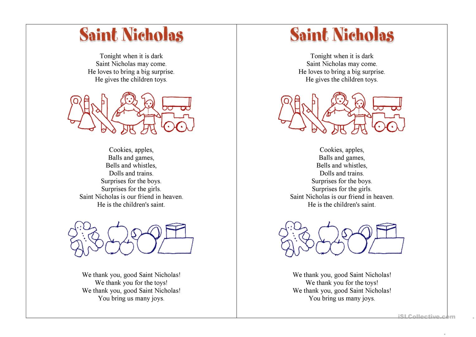 Saint Nicholas Worksheet
