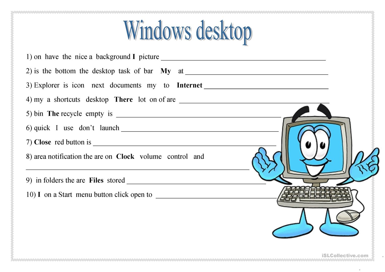 Windows Desktop Worksheet