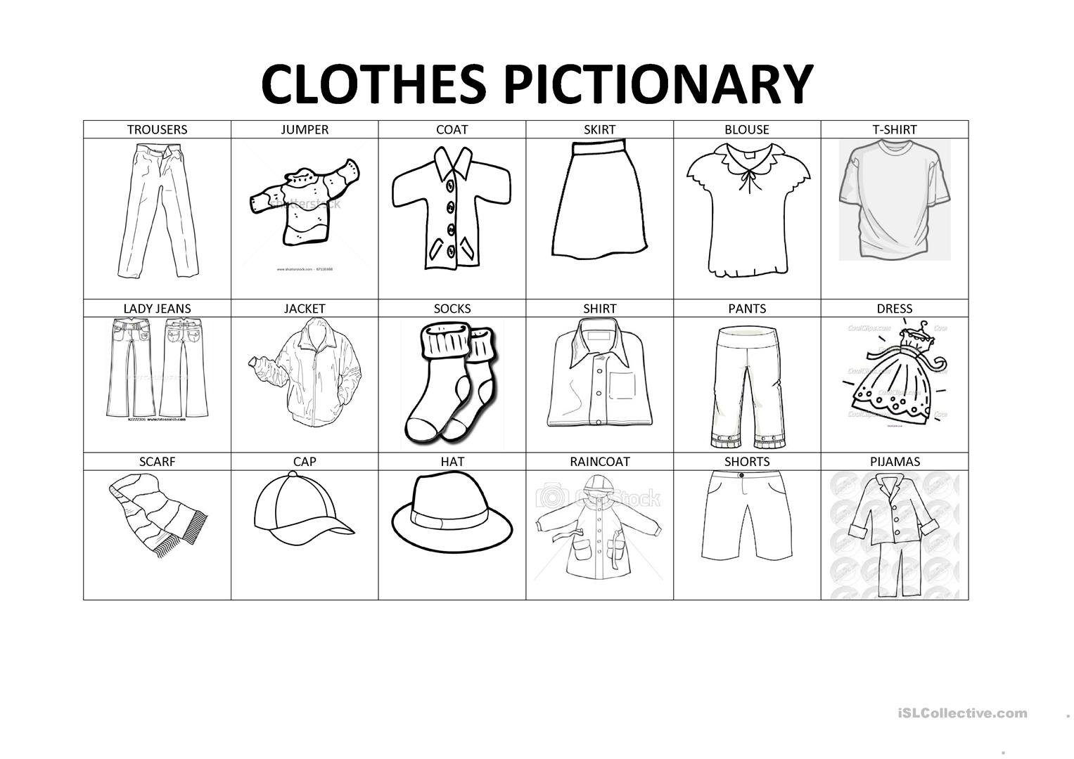 Clothes Worksheet Download