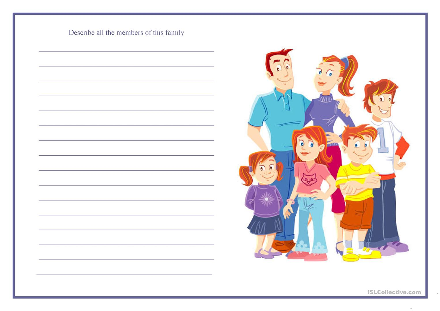 Describe All The Members Of This Family Worksheet