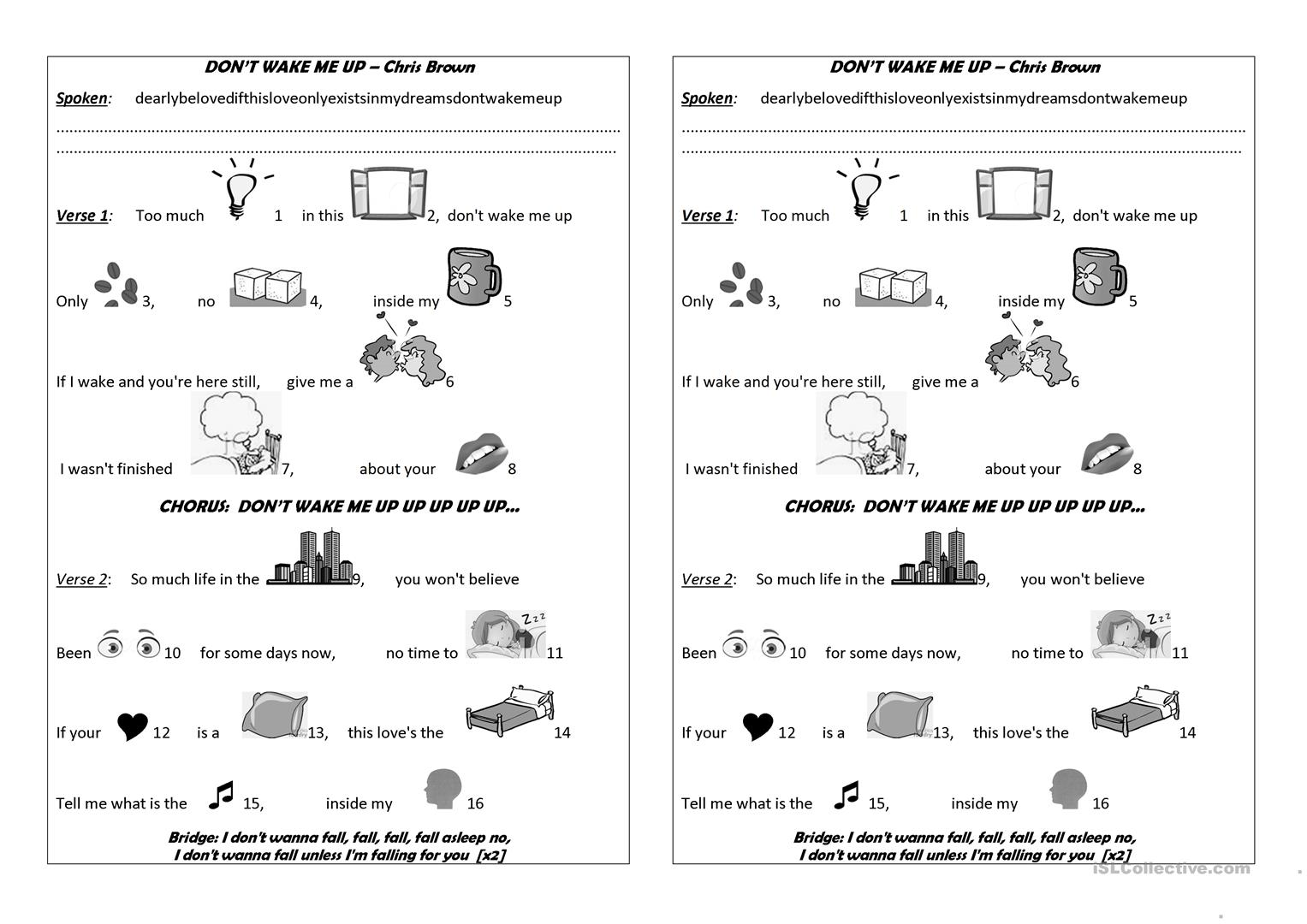 Don T Wake Me Up Worksheet
