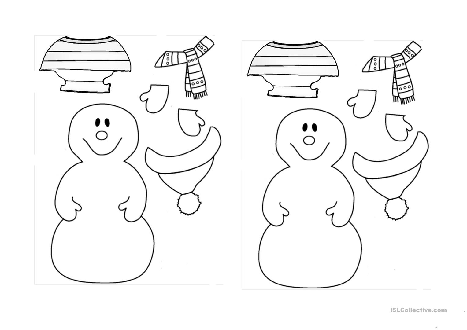 Dress The Snowman For Winter Worksheet