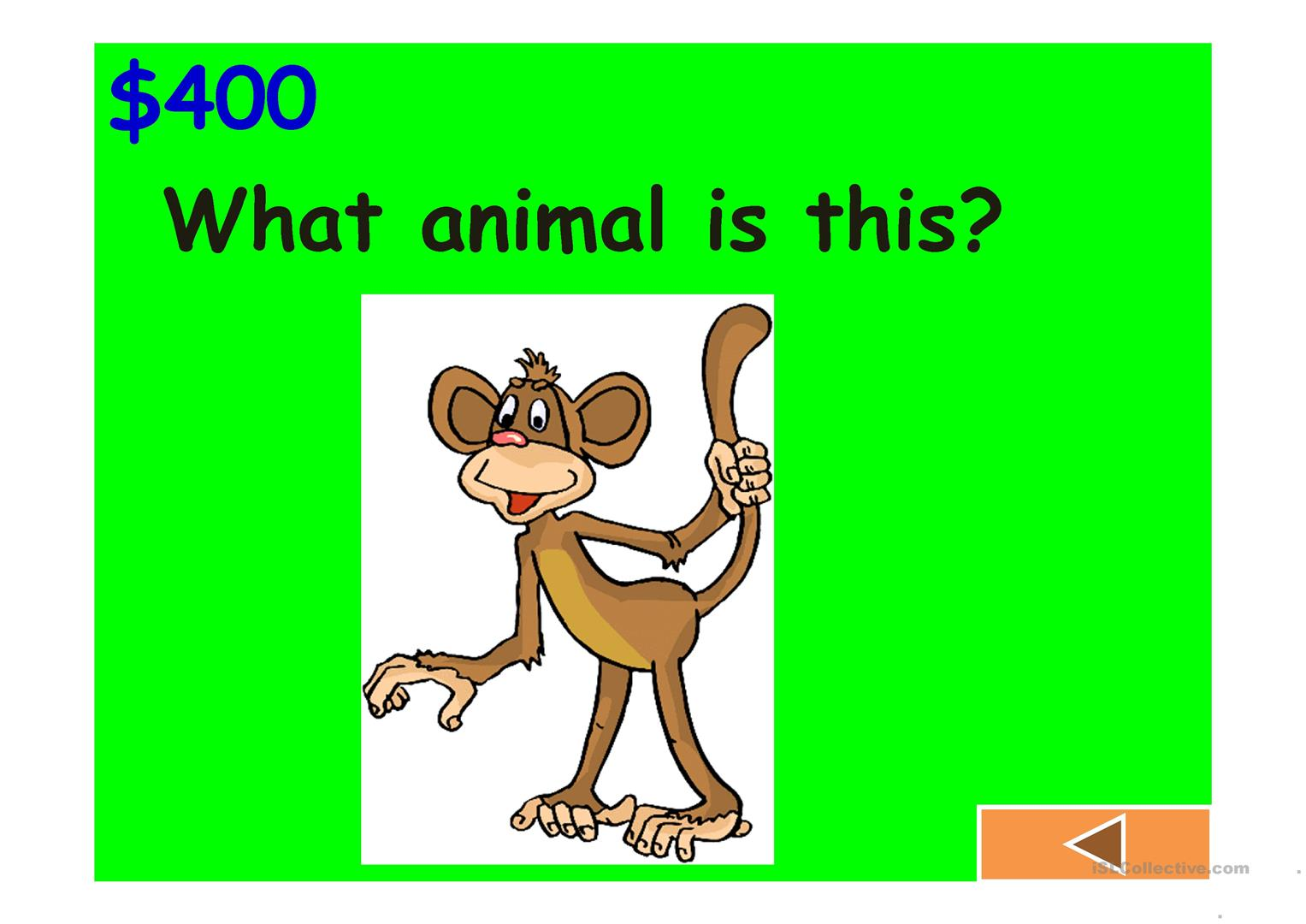 Jeopardy Game Body Animals Classroom Clothes And Numbers Worksheet