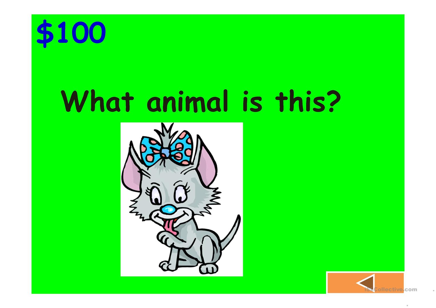Jeopardy Game Colours Animals Classroom Fruits And Numbers