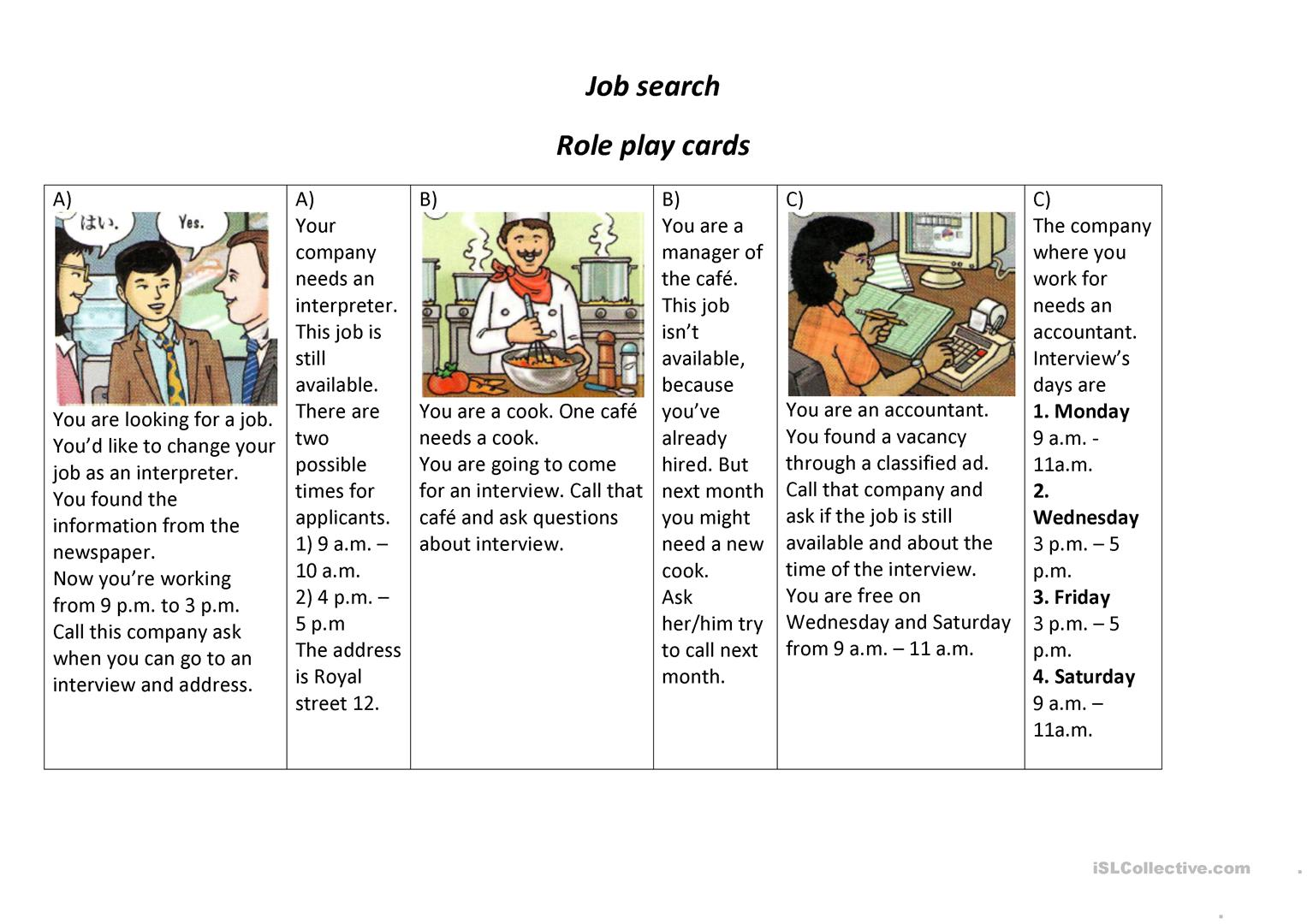 Job Search Role Play Worksheet
