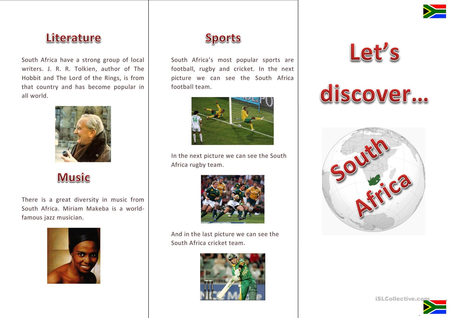 Let S Discover South Africa Worksheet