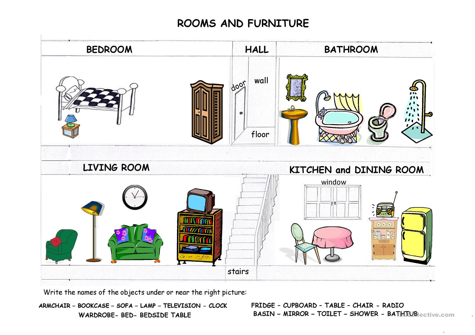 Rooms Furniture And Prepositions Of Place Worksheet