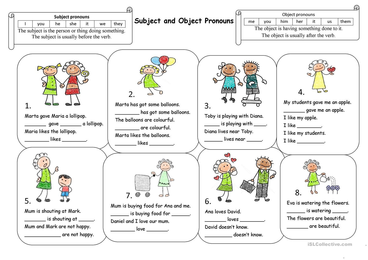 Esl Subject Pronoun Worksheet