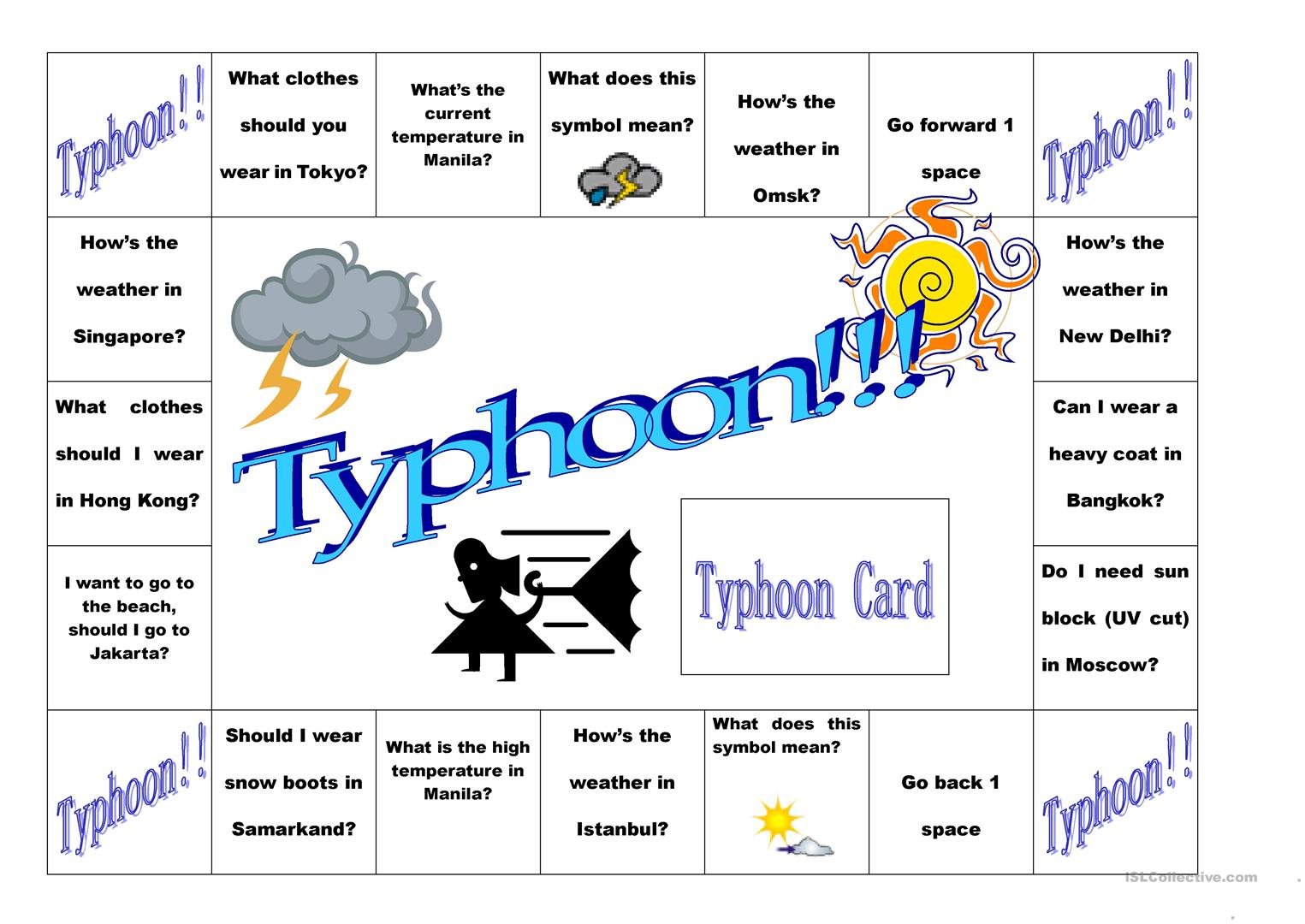 Typhoon Weather Board Game Worksheet
