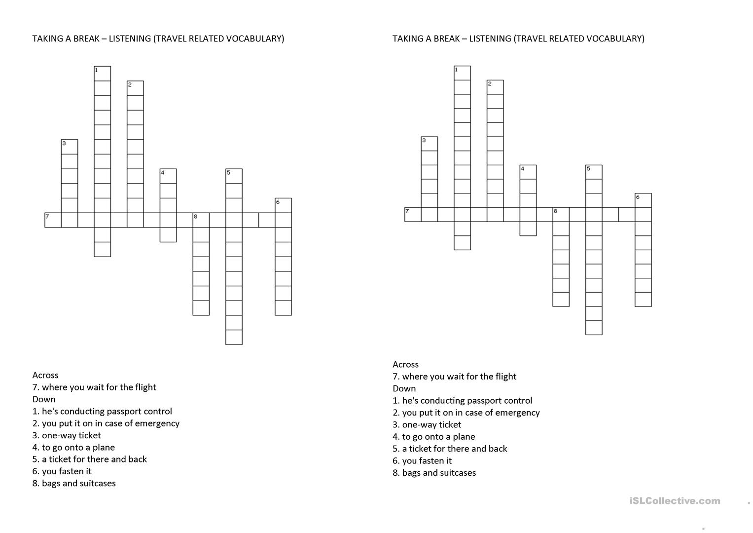 Air Travel Vocabulary Crossword Puzzle Worksheet