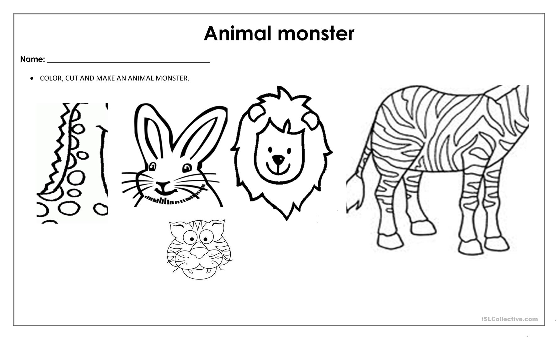 Animal Monster Worksheer