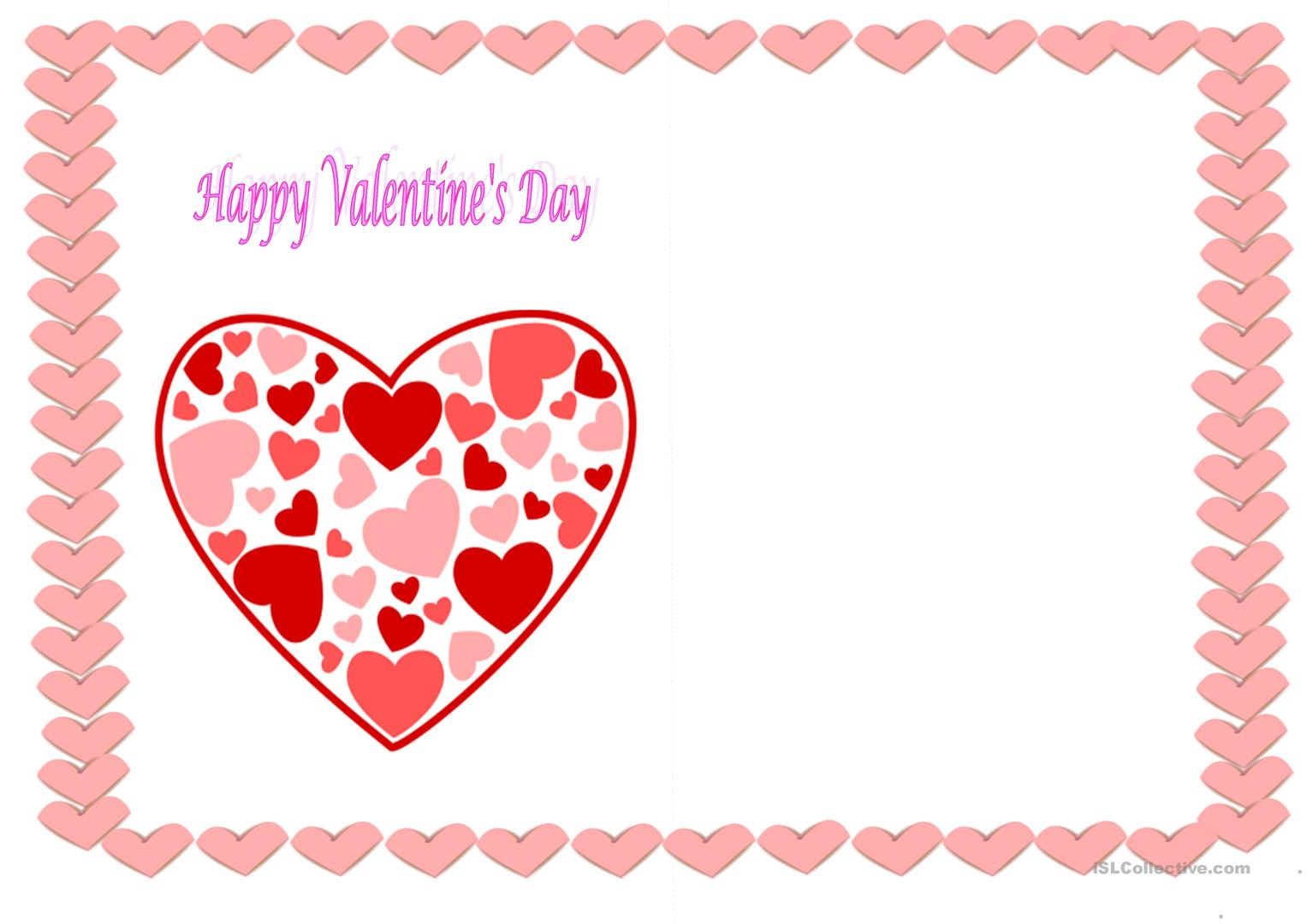 Cards For St Valentine S Day Worksheet