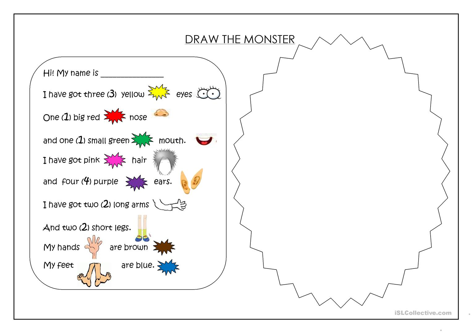 Draw A Monster Worksheet