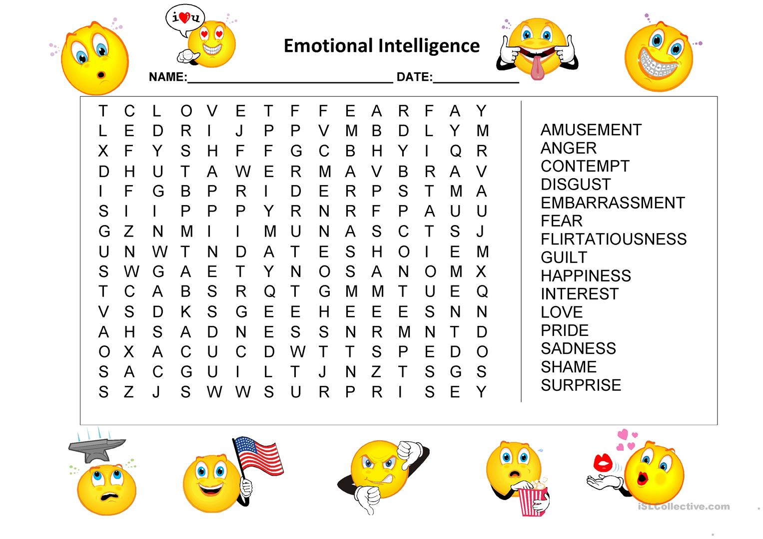 Emotional Intelligence Word Search Worksheet