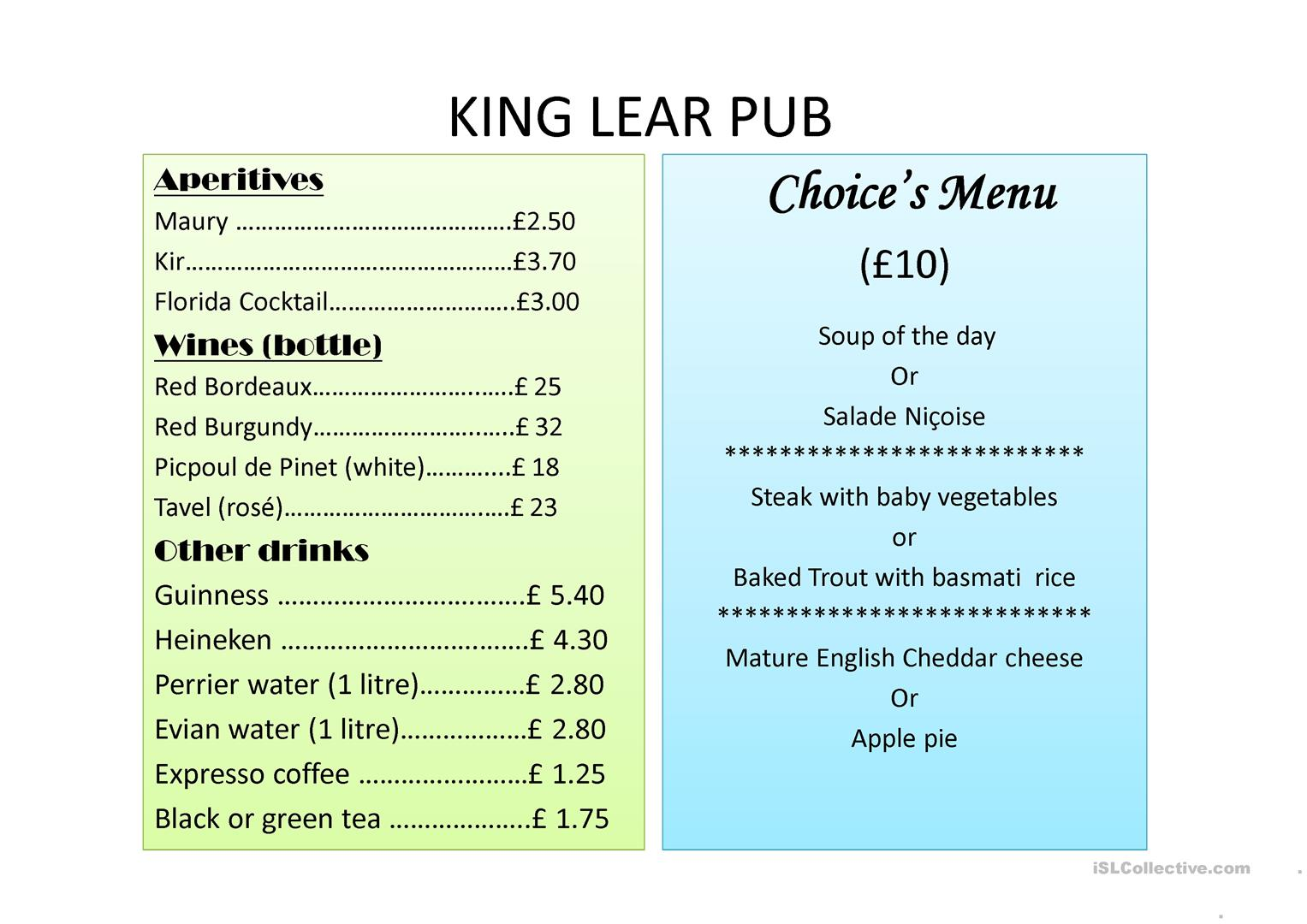 King Lear Pub S Choice Menu Worksheet