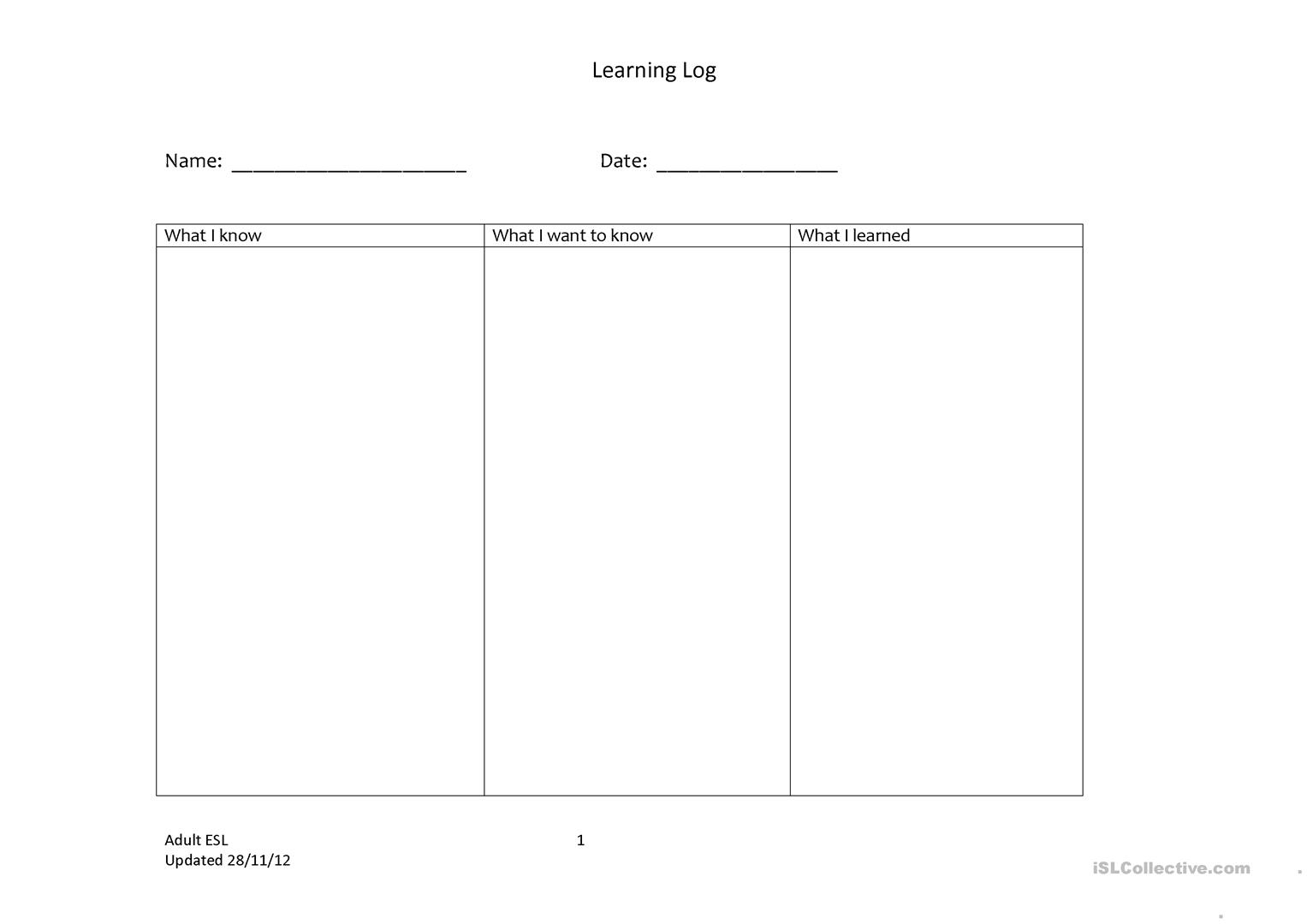 Learning Log Worksheet