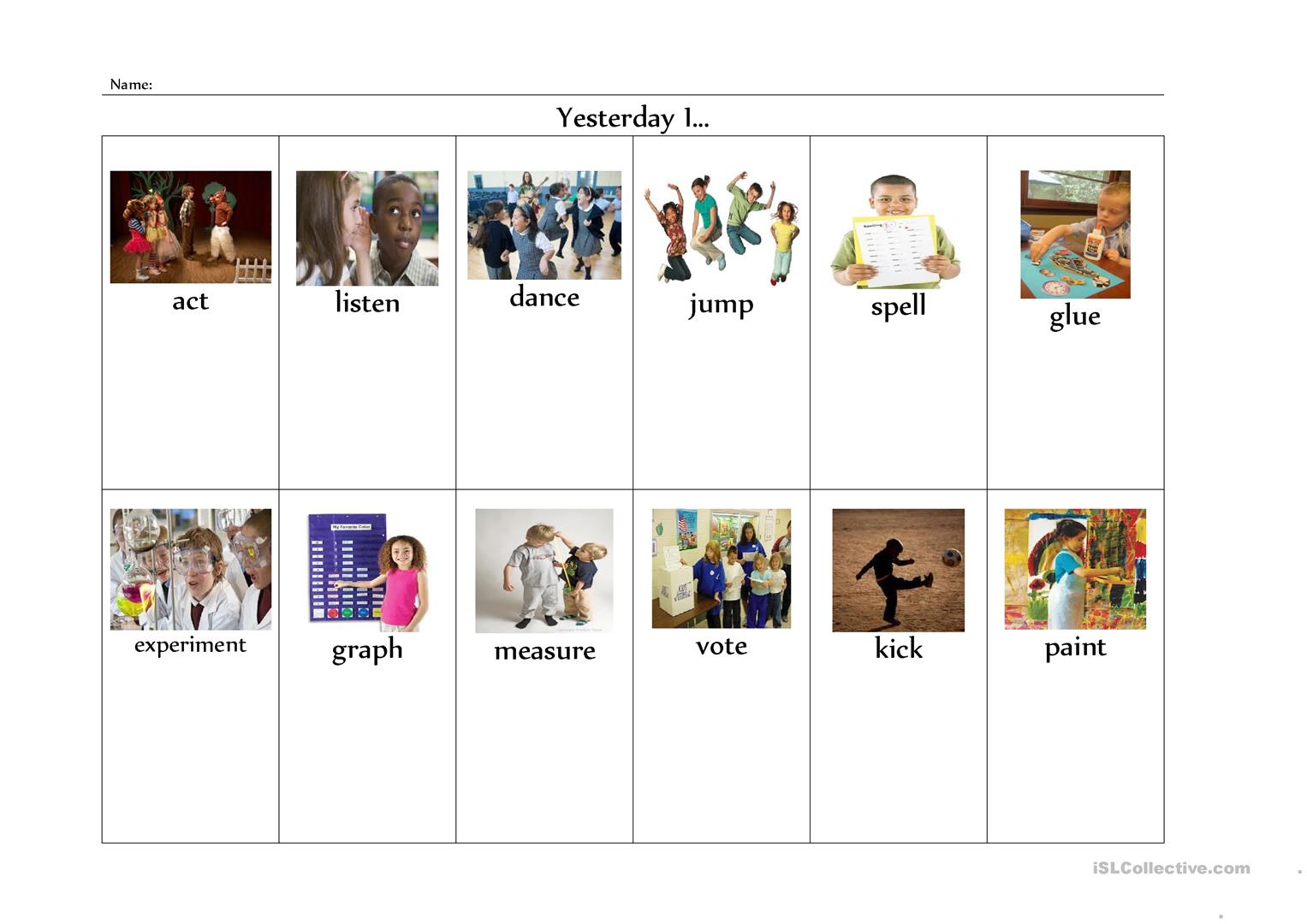 Past Tense Regular Verbs Worksheet