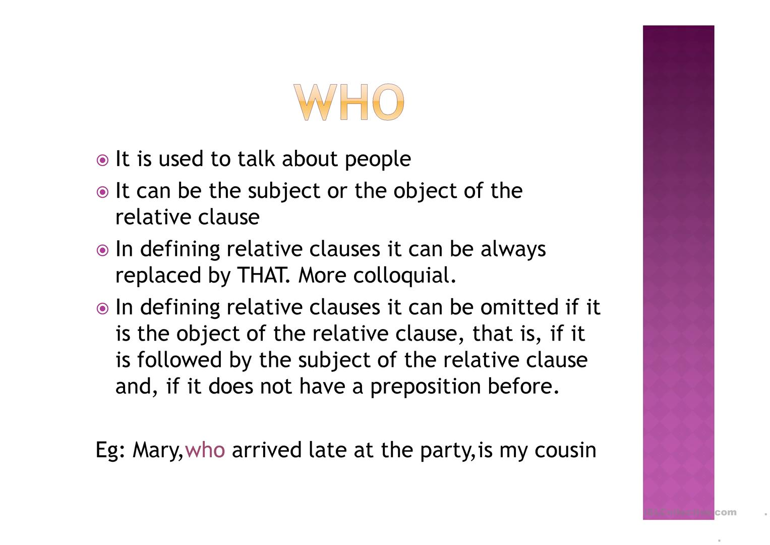 Relative Clauses Part 1 Worksheet
