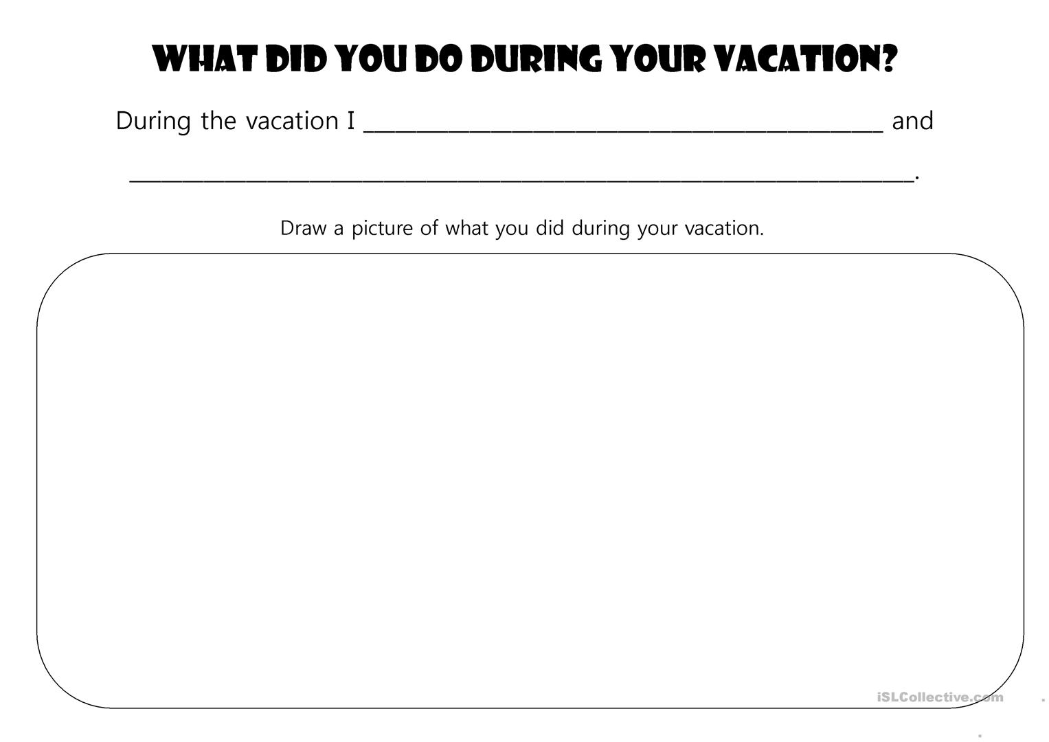 Vacation Reflection Worksheet