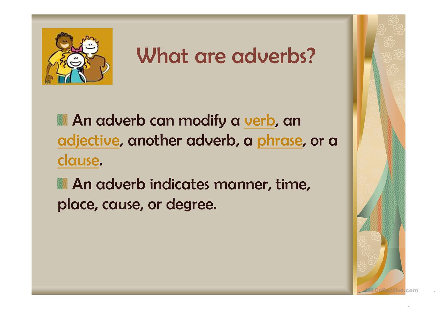 What Is An Adverb Worksheet