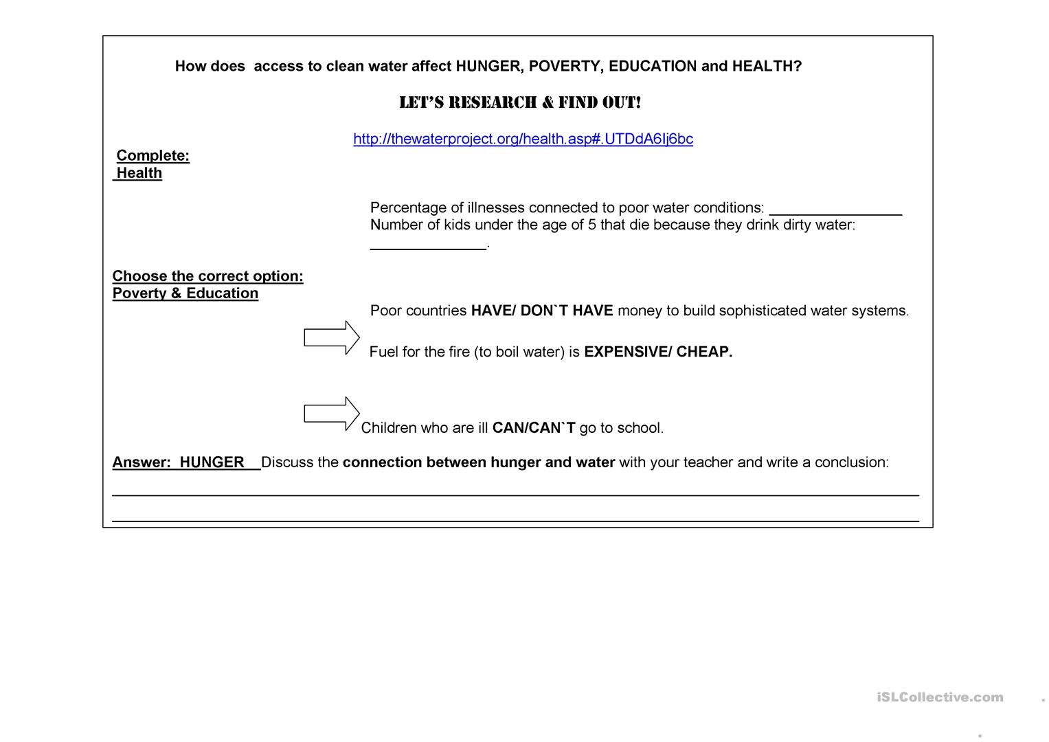 Access To Clean Water Worksheet