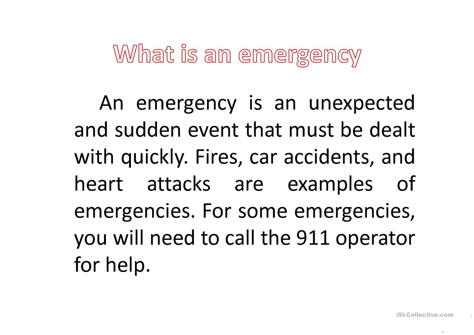 Ask For And Give Help In Case Of Emergency Worksheet