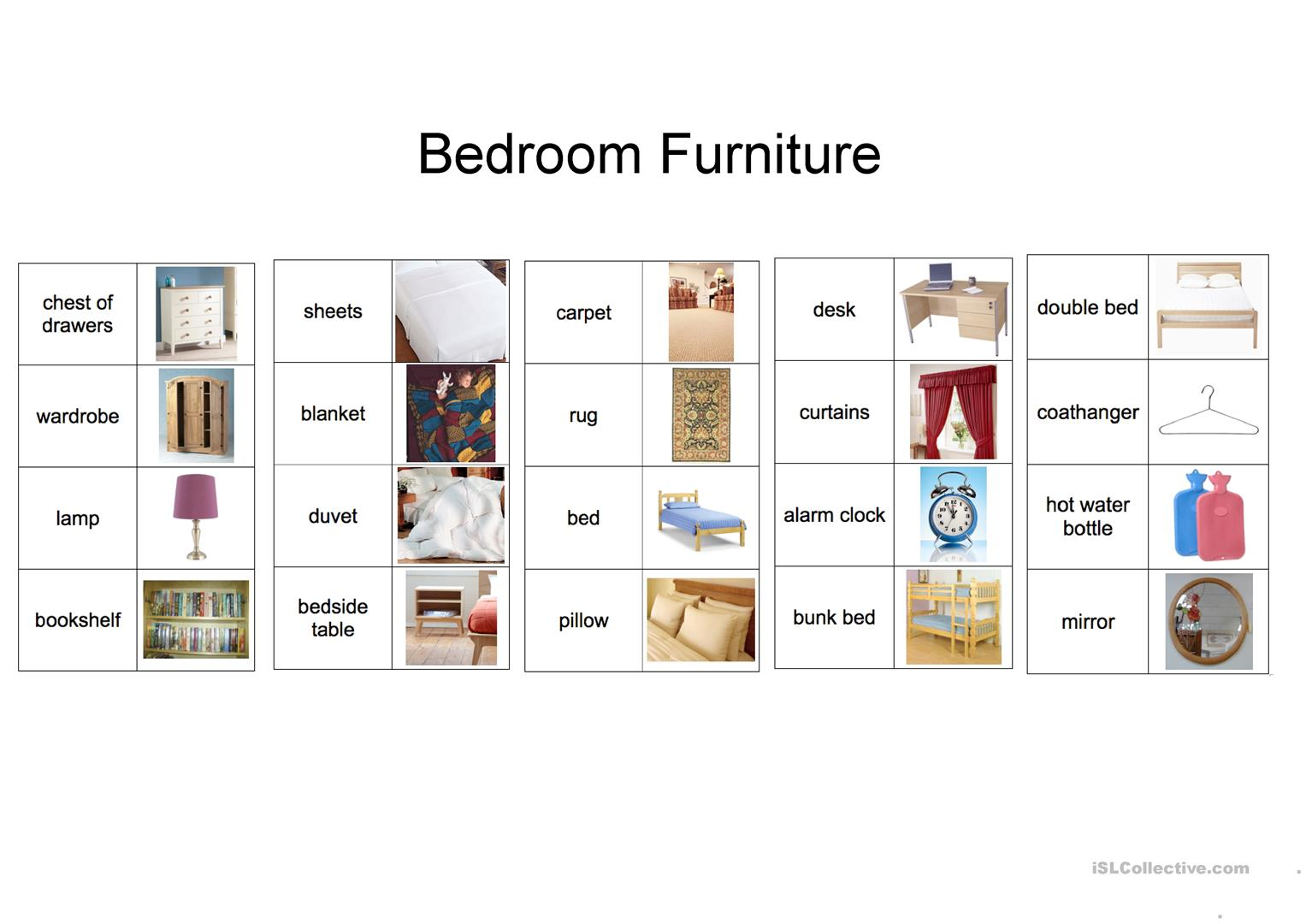 Bedroom Vocabulary Worksheet