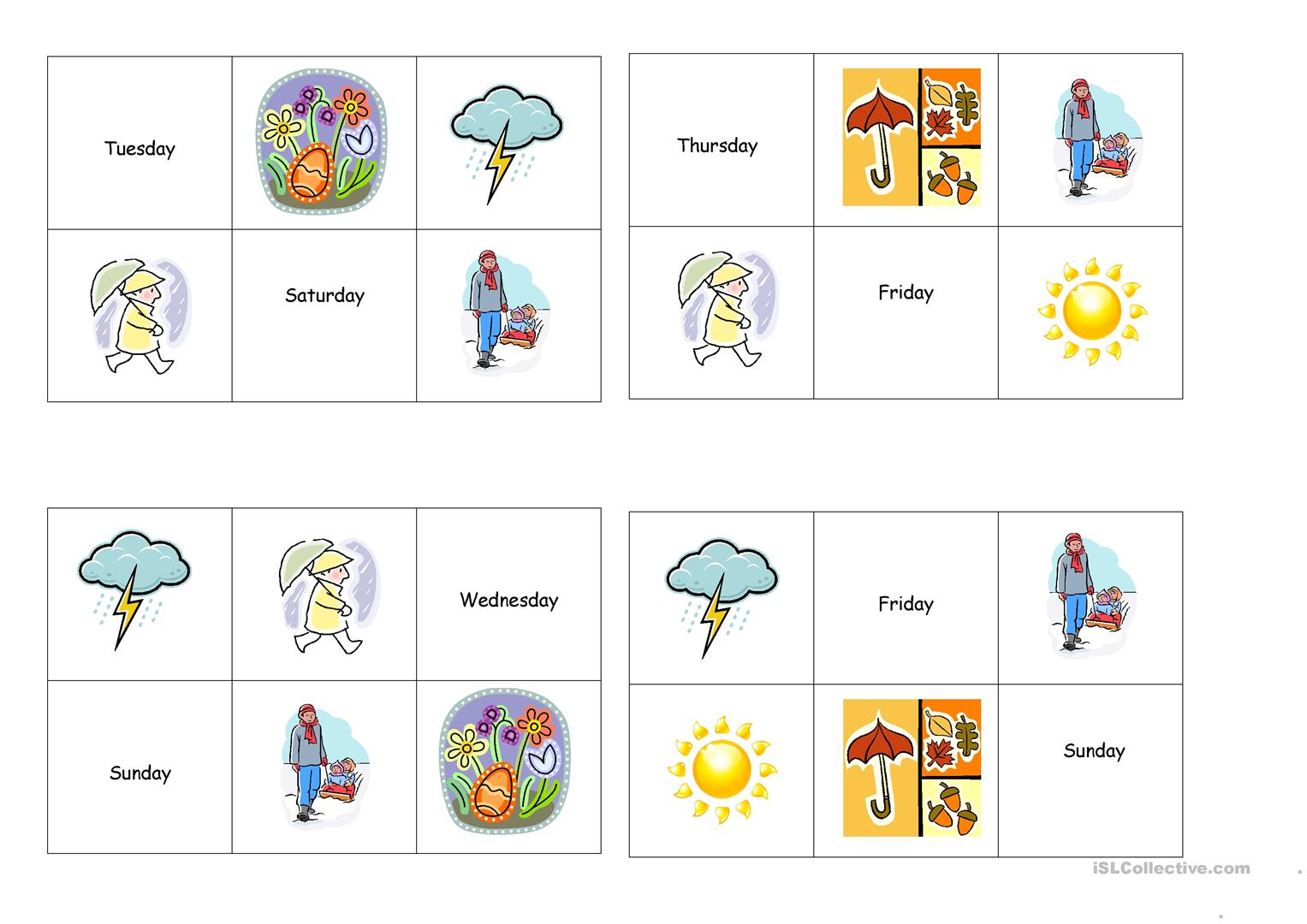 Bingo Seasons Weather Days Of The Week Worksheet