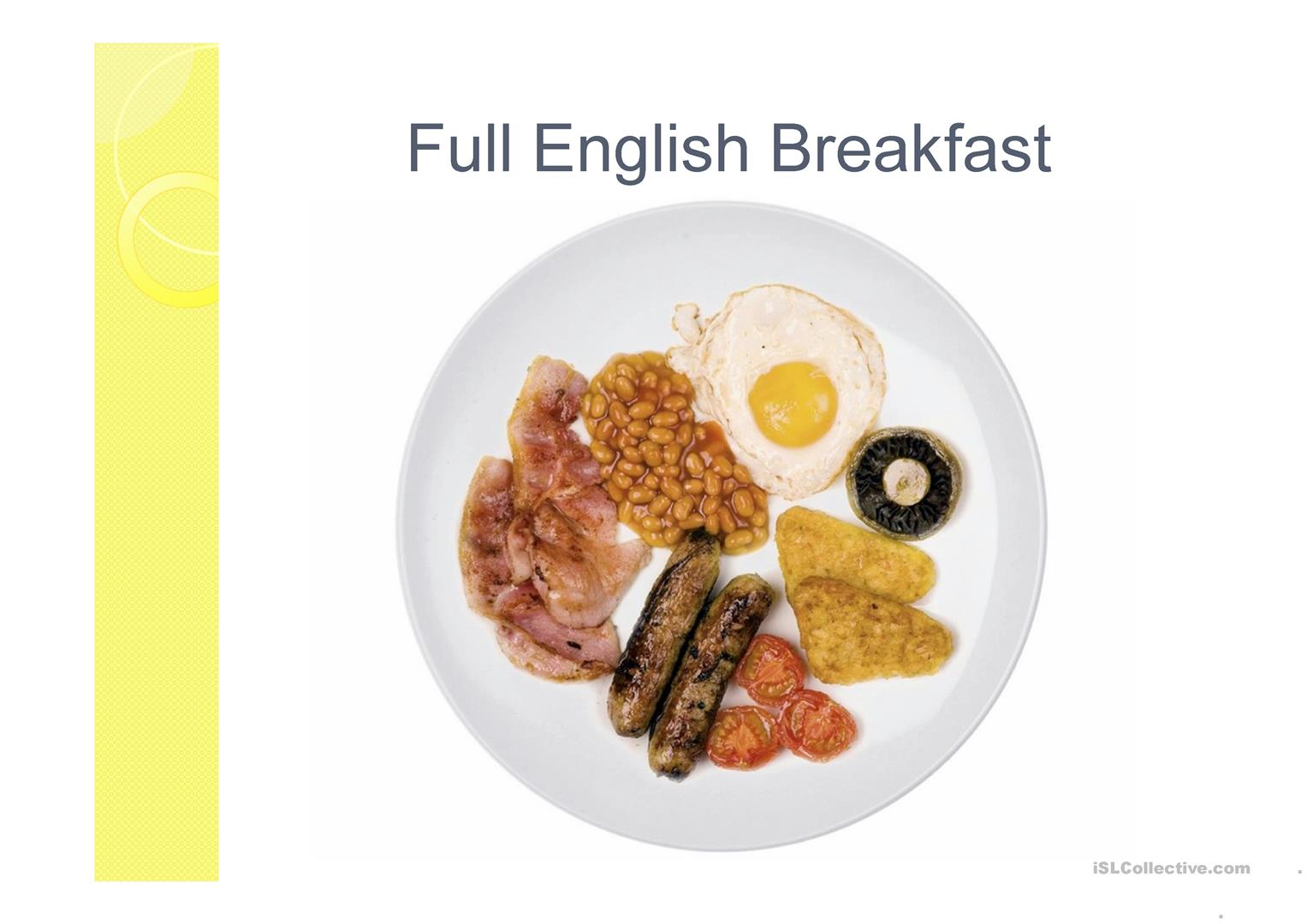 Breakfast In England Worksheet