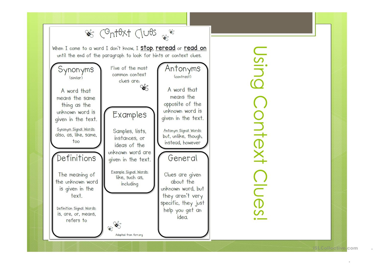 Dictionary And Context Clues Worksheet