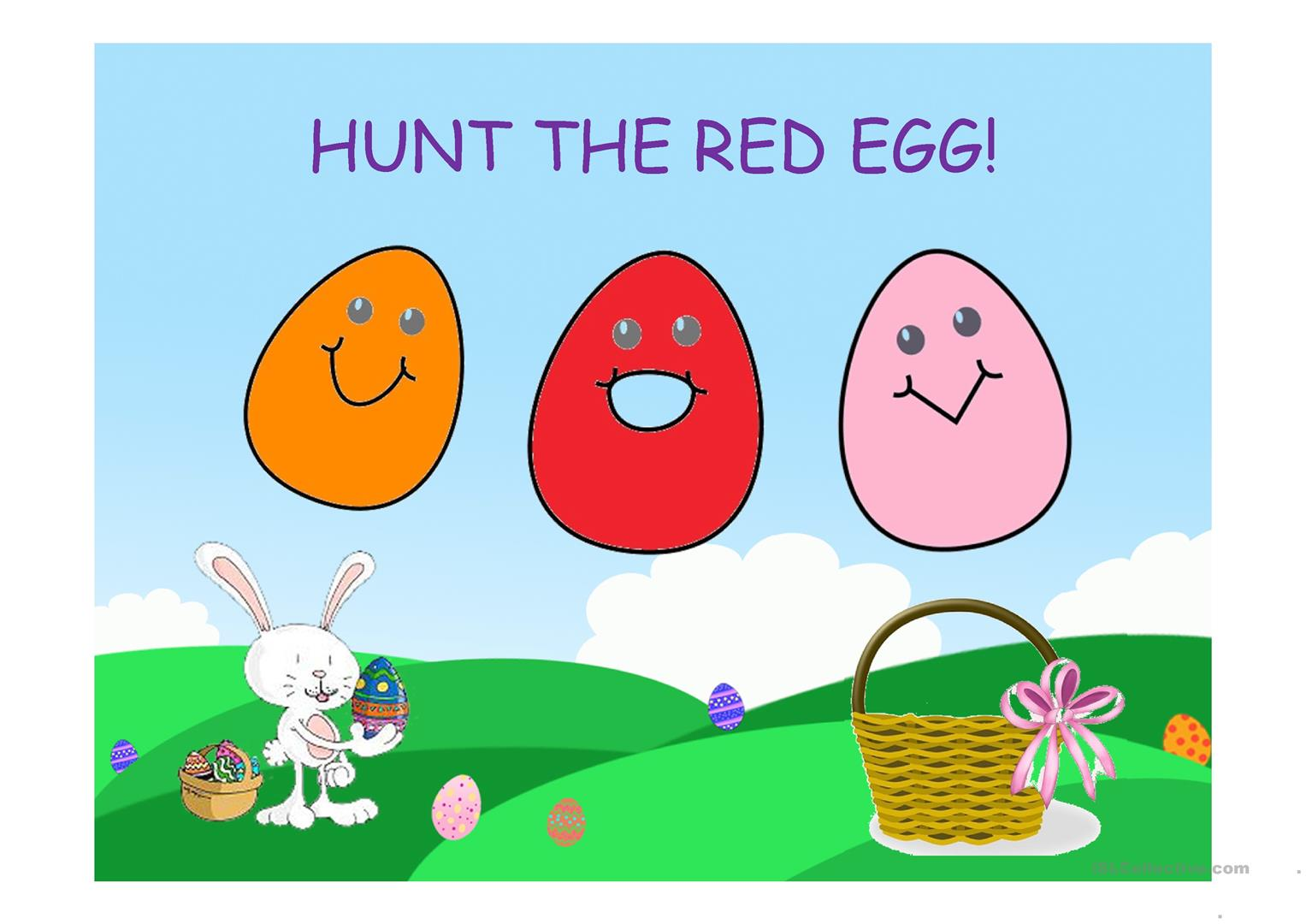 Easter Egg Hunt Game Colours Worksheet