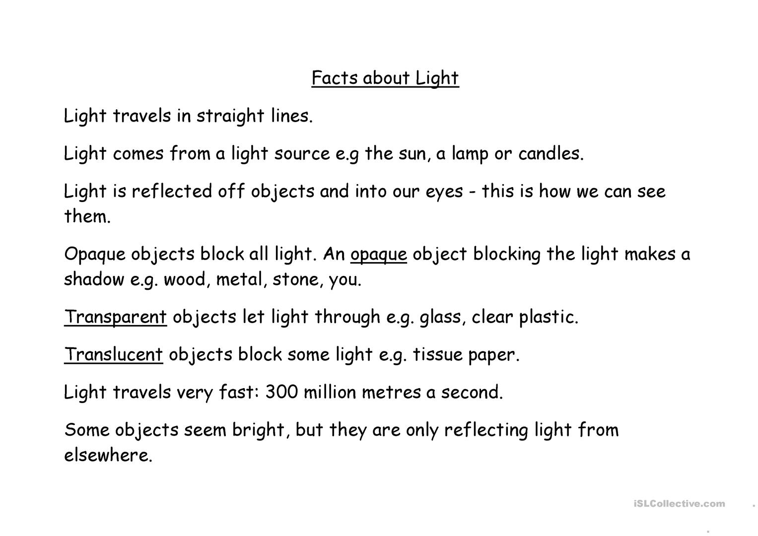 Facts About Light Quiz