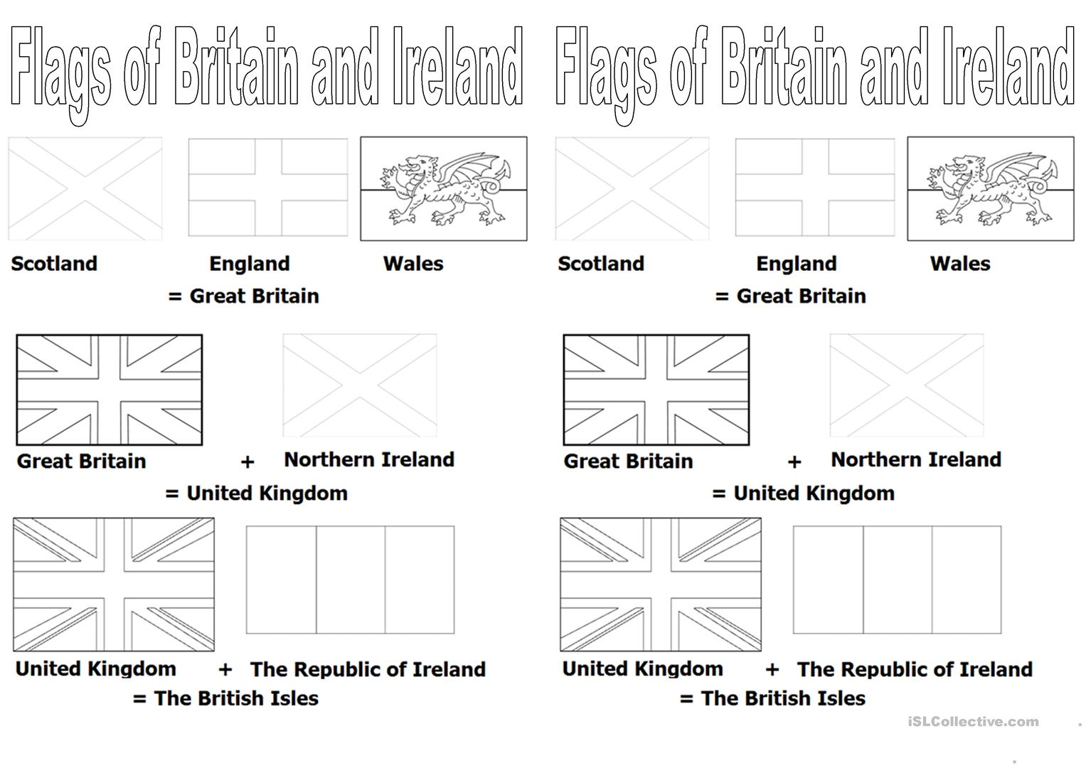 Flags Of Britain And Ireland Worksheet