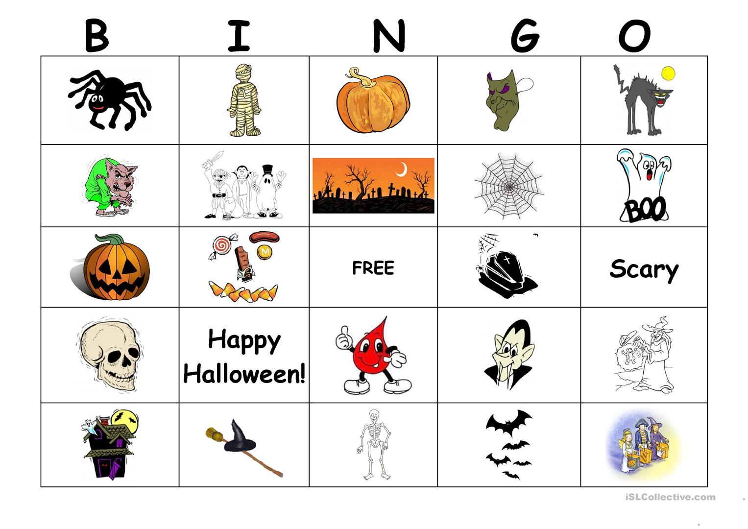 Halloween Bingo Worksheet