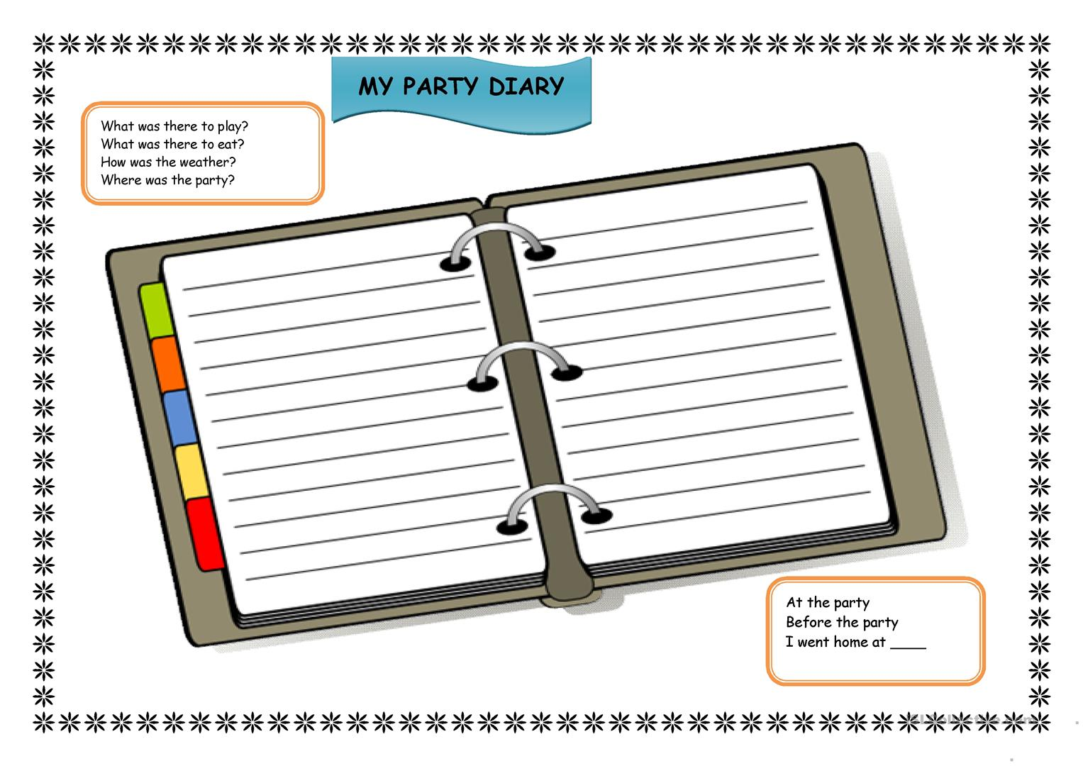 Party Diary Worksheet