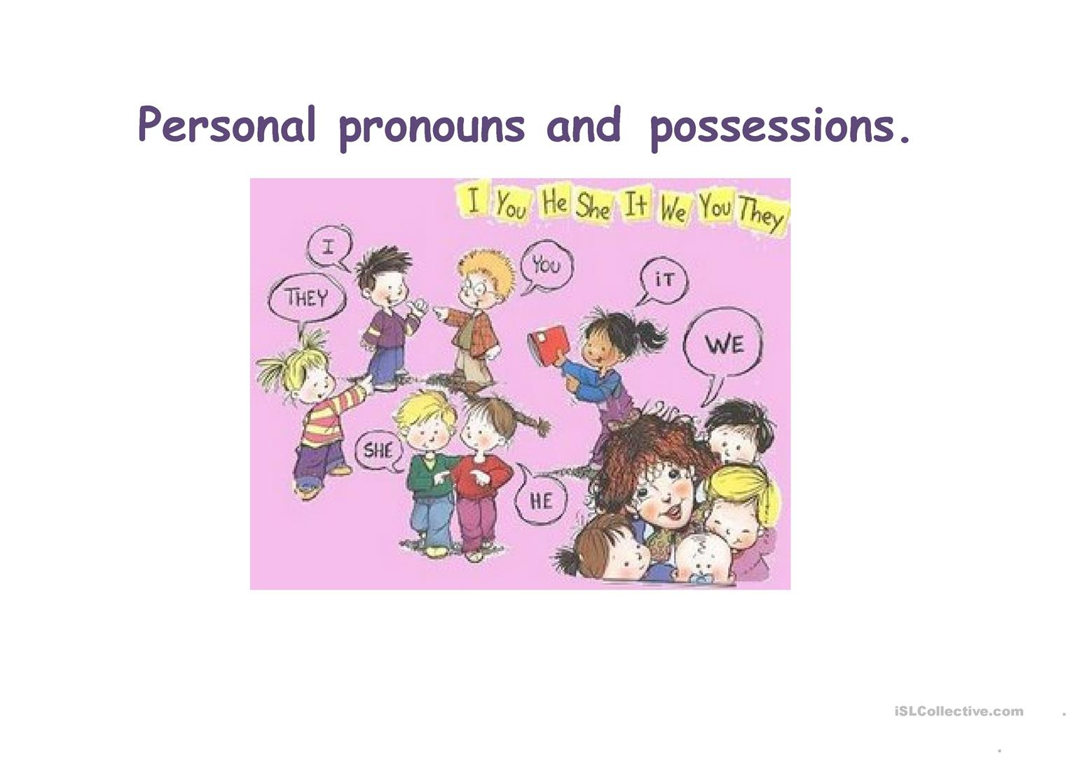 Personal Pronouns And Adjective Possessions Worksheet