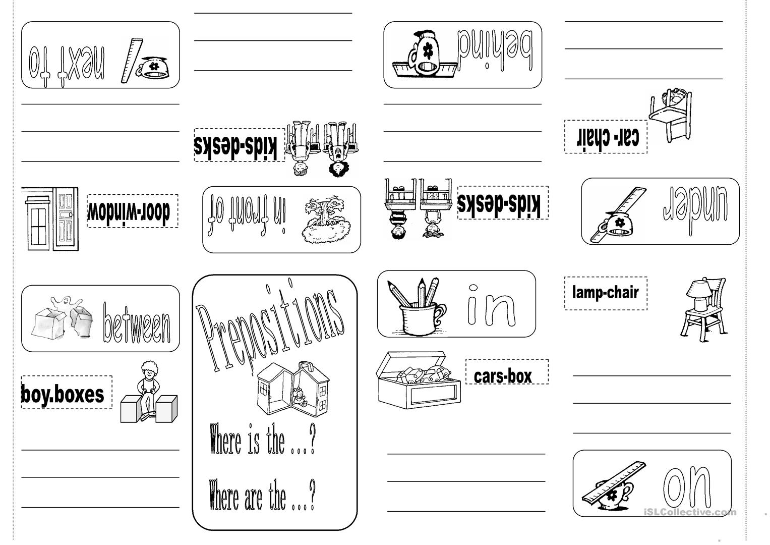 Prepositions Minibook Worksheet