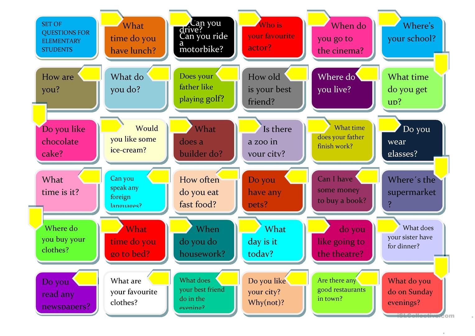 Set Of Questions For Elementary Students