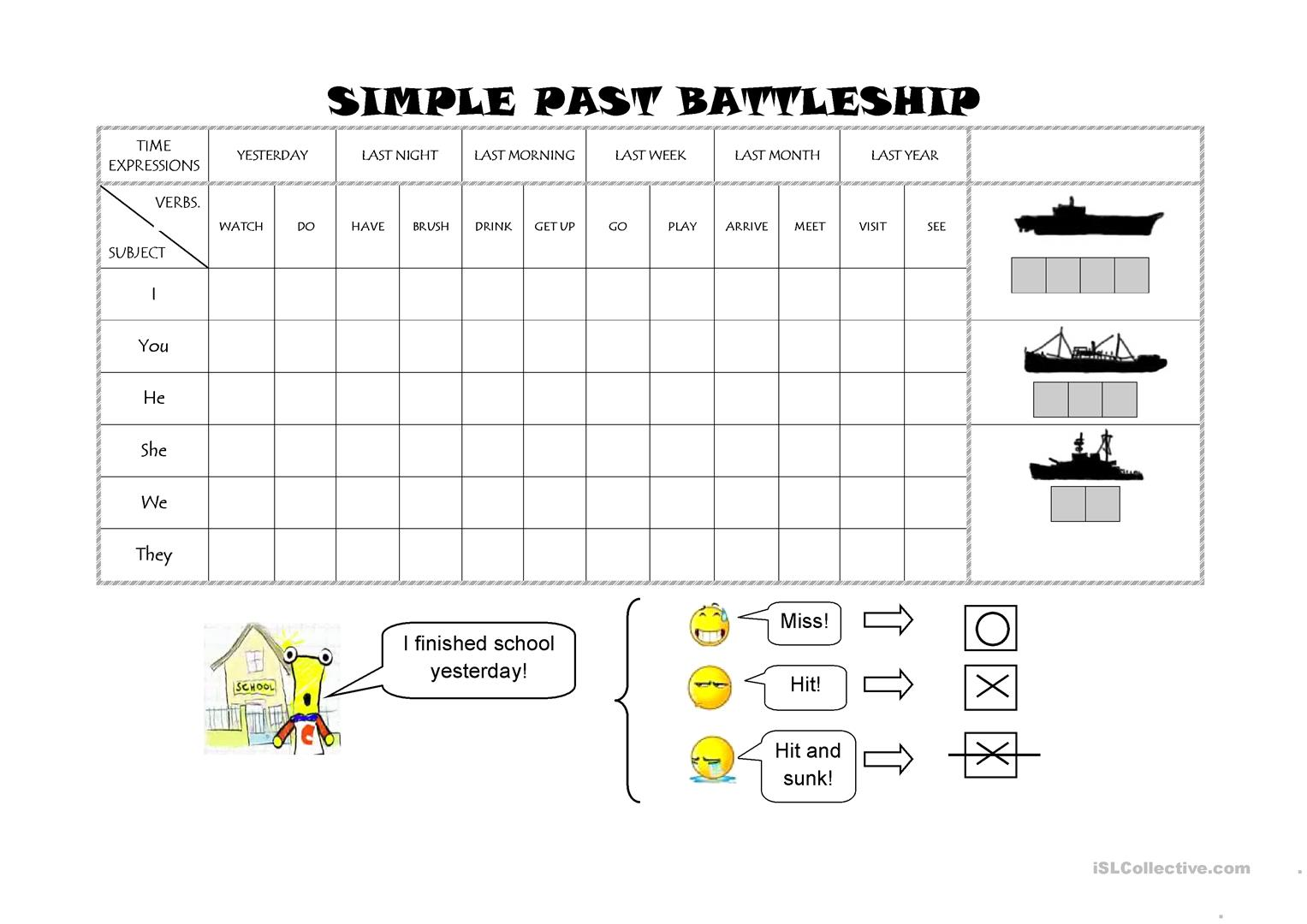 Simple Past Battleship Worksheet
