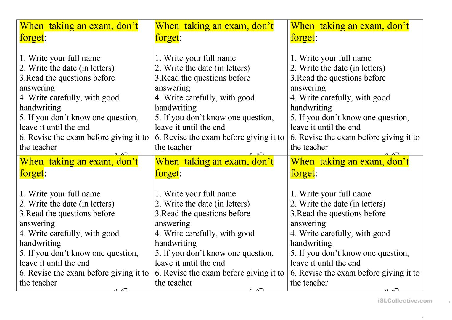Tips For Students When Taking An Exam Worksheet